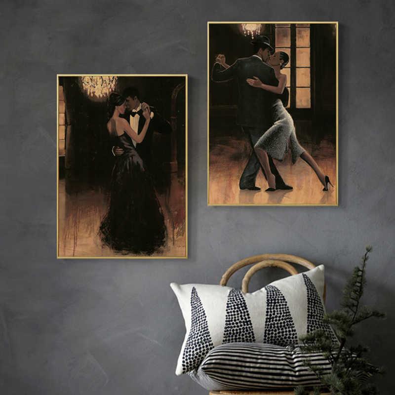 Newbility Eropa Retro Poster dan Cetakan Penari Balet Dinding Seni Lukisan Kanvas Gambar untuk Ruang Tamu Nodic Dekorasi Rumah
