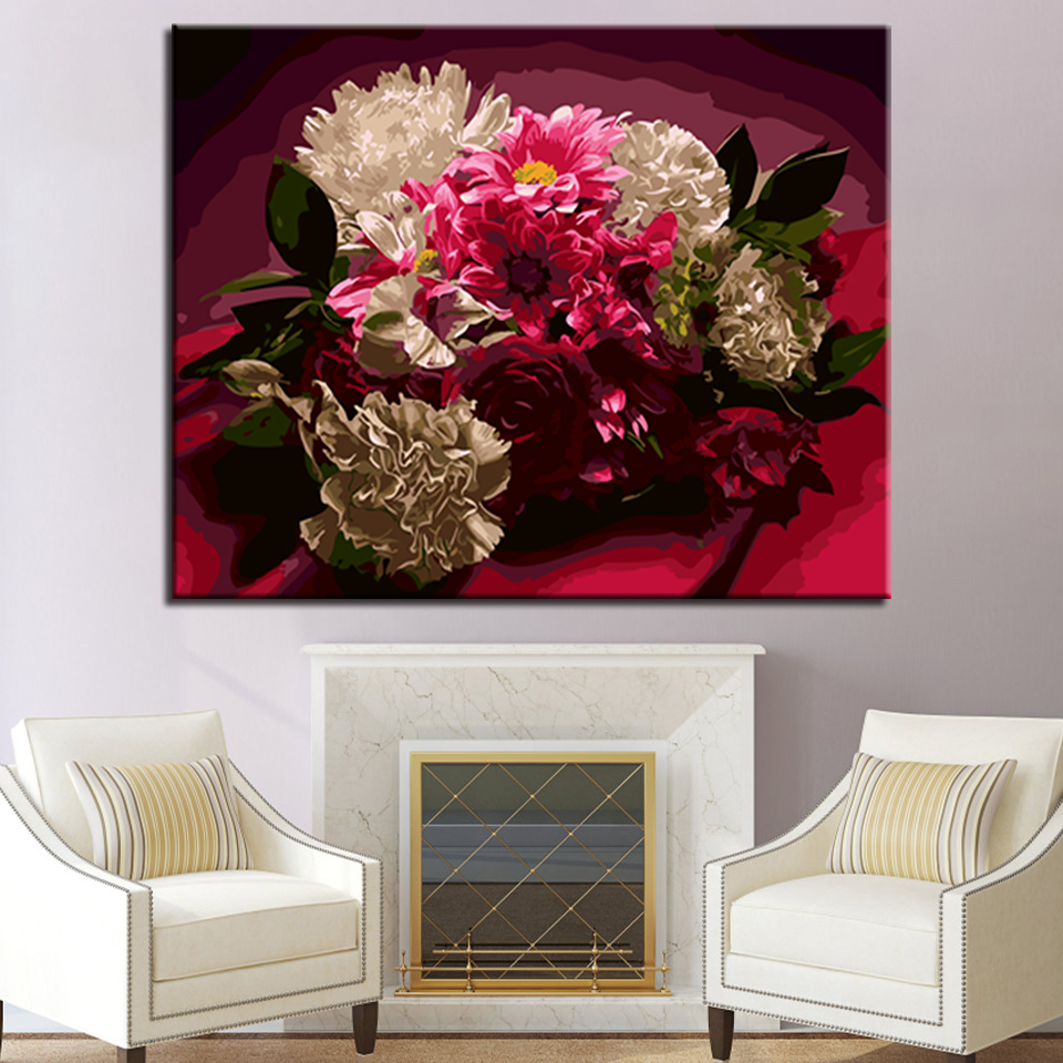 For Living Room Hand Unique Gifts Wall Artwork Beautiful Flowers DIY By Numbers Painting Modern Abstract Pictures Home Decor