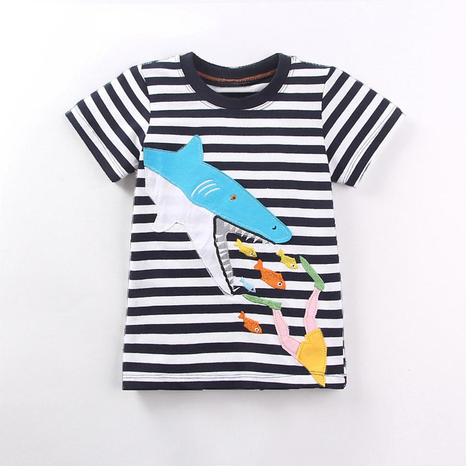 bf93ebb35f19a 2017 New Children T Shirt Cartoon Shark Striped T-shirts For Baby ...