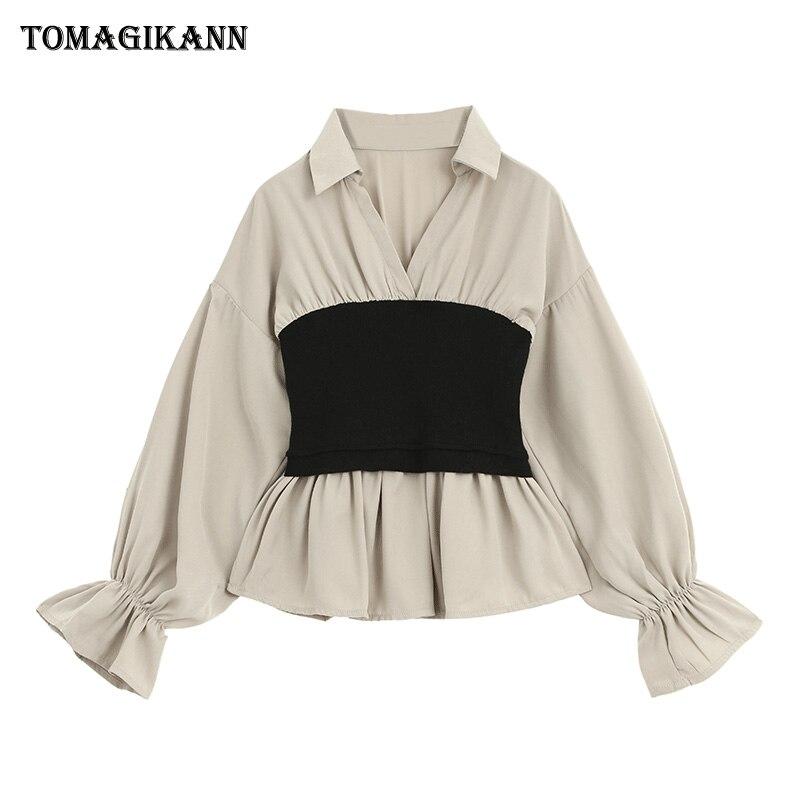 Tunique Patchwork Blouse chemise haut pour Femme 2019 coréen contraste couleurs Flare manches Slim Feminina blusas Chemisier Femme