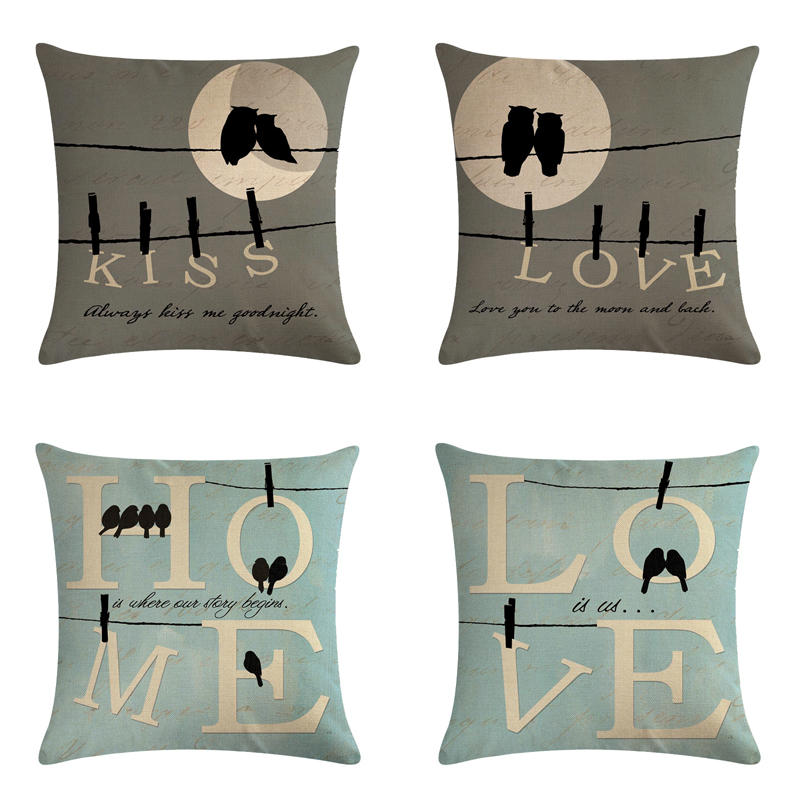 Love birds HomerDecor Cushion Cover Throw Pillowcase Pillow Covers 45 * 45cm  Sofa Seat Decorative