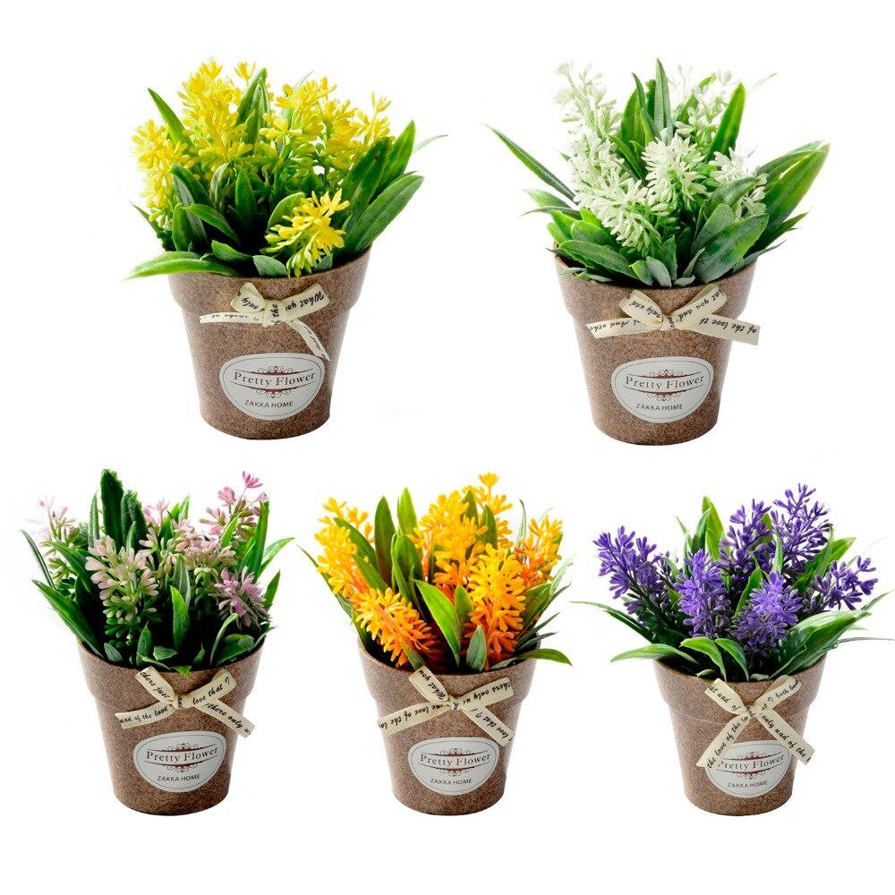 Hybrid Fake Flower Grass With Plastic Vase Bonsai