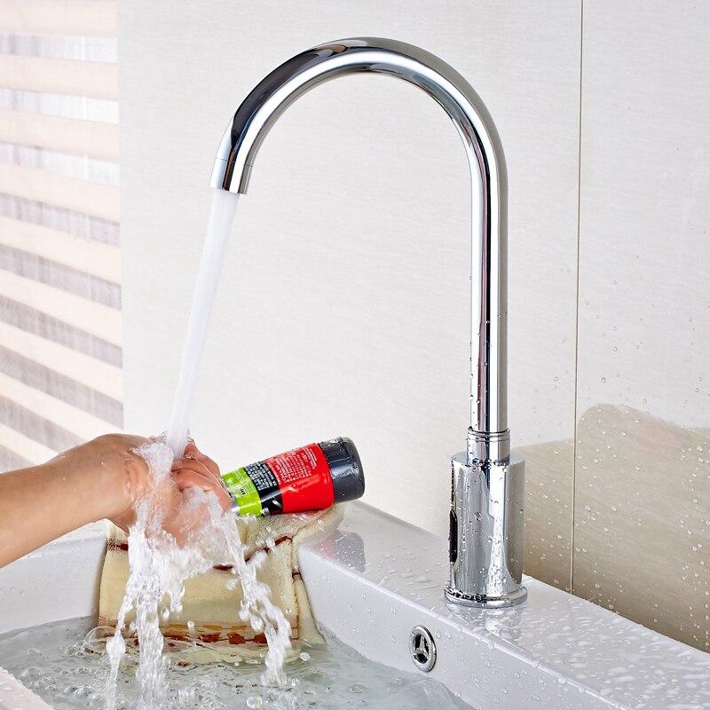 Automatic Hand Touch Sense Faucet Bathroom Sink Faucet Single Cold Water Mixer Tap Chrome niko 50pcs chrome single coil pickup screws