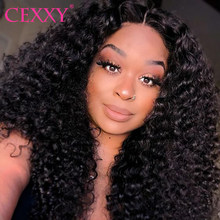 CEXXY Lace Front Human Hair Wigs Afro Kinky Curly Wigs For Black Women With Baby Hair Curly Lace Frontal Wig Free Shipping(China)