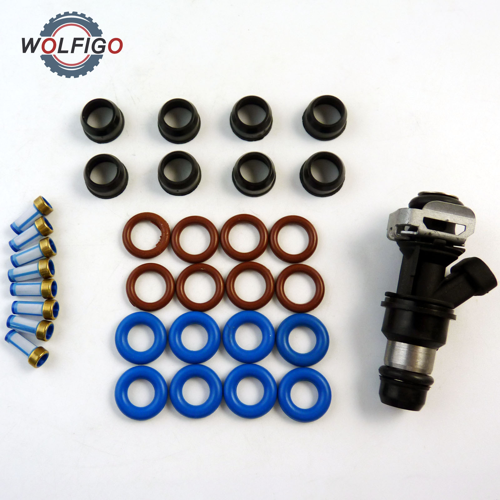 wolfigo fuel injector rebuild kit o rings filters 25317628 17113553 8171136980 for chevrolet truck pintle v8 chevy gmc 4 8 in fuel inject  [ 1600 x 1600 Pixel ]