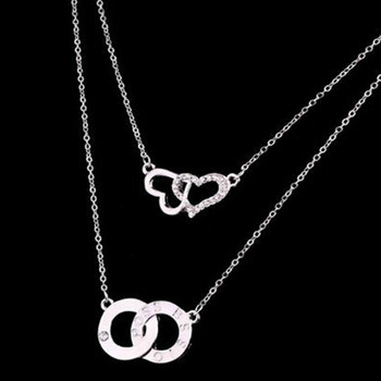 Wen Jiajia Tang Wei Beijing Encounter Seattle With The Korean Version Of The Double Heart-shaped Necklace Jewelry image
