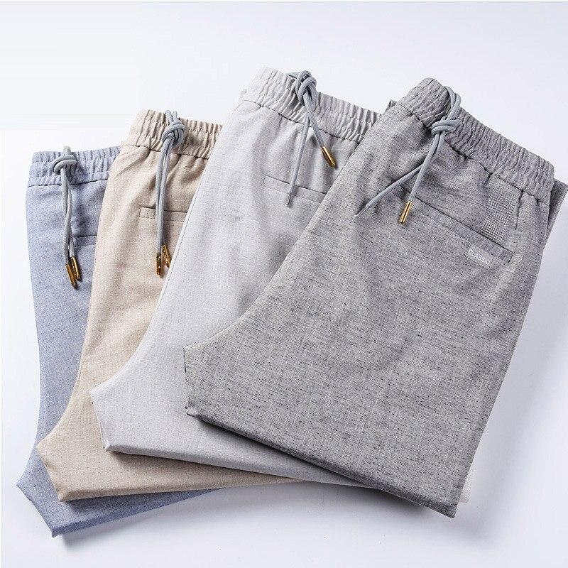 Autumn Summer Casual Linen Pants Men Business Slim Fit Straight Trousers Men Zipper Khaki mens Fashion pants Pantalon Lin Homme