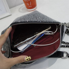 Miyahouse PU Leather Shoulder Bag For Women Bling Sequines Fashion Messenger Bag With Chain For Female Candy Color Crossbody Bag