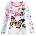 Девушки футболки девушки одежды детей футболки бабочка окрашенные повседневные нова детская одежда из 100% хлопка футболка с длинным рукавом F5932