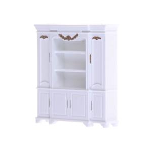 51*12*56mm Dollhouse Mini Cabinet Model Kitchen Dining Display Shelf White Doll House Decoration Miniature Kitchen Accessories