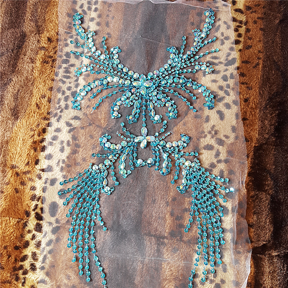 HAND Beaded 28x52cm Delicate Light Blue Lady Girl Wedding Sewing Crystal Rhinestone Patch Applique Sew on For Dress Clothes Trim in Patches from Home Garden