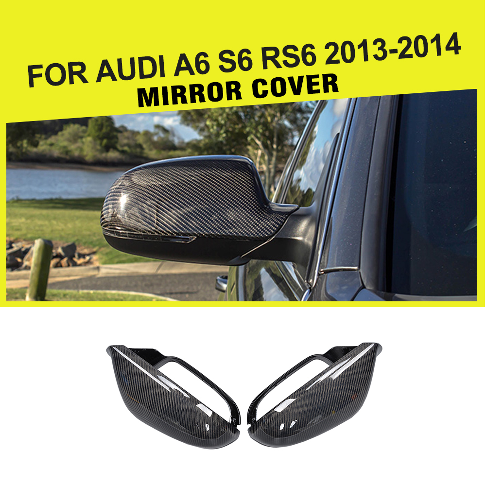 carbon fiber replacement styling car side mirror cover trim fit Not line assist for Audi A6 S6 RS6 2013-2014