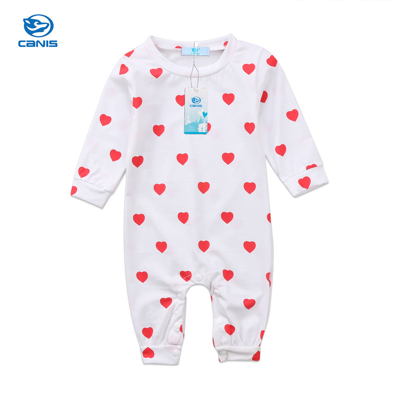 Cute Newborn Kids Baby Boy Girl Long Sleeve Heart Printed Romper Jumpsuit Autumn Spring Casual Clothes Outfit Onepiece 0-12M