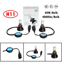 Universal kit G5 auto light car LED H8/H9/H11 headlight Driving lamps FOG bulb 40W 4000LM 6000K All Sides 2 COB free shipping