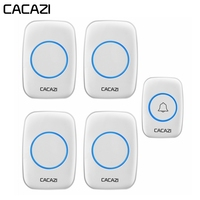 CACAZI Home Waterproof Intelligent Wireless Doorbell US EU UK Plug LED Light call Bell 1 Button 4 Receivers 60 Chime 5 Volume
