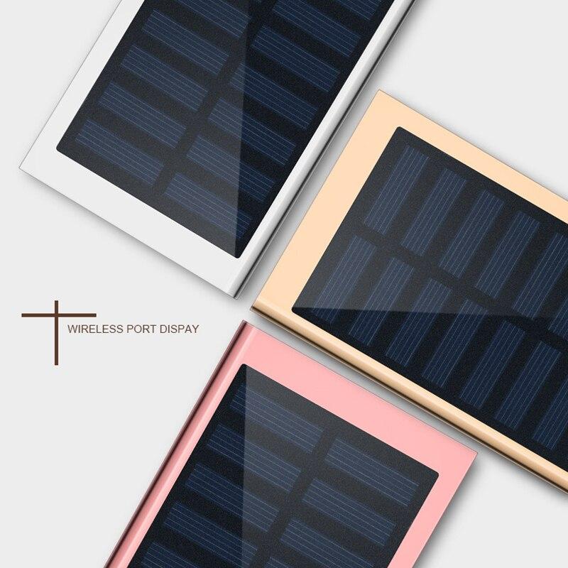 Solar Power Bank External Battery 2 USB LED Powerbank Portable Mobile Phone Solar Charger For Xiaomi Mi Iphone XS 8plus 20000mAH