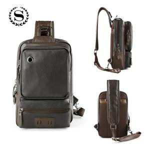Image 2 - Мужские кожаные рюкзаки Scione, модные уличные деловые повседневные водонепроницаемые сумки через плечо с разъемом для наушников