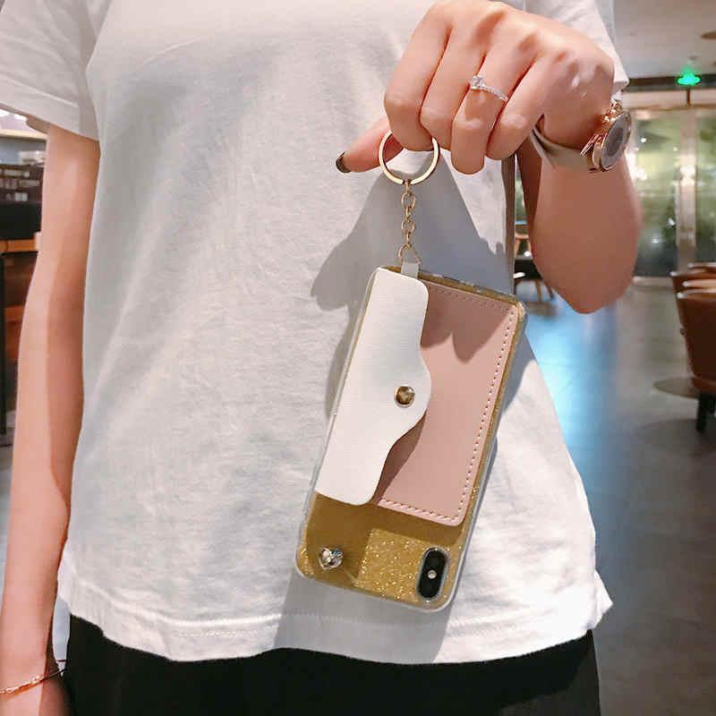 עבור סמסונג גלקסי A3 A5 A7 J3 J5 J7 2016 2017 נצנצים ארנק טלפון סלולרי מקרה שרוך שרשרת כתף צוואר רצועת חבל כבל