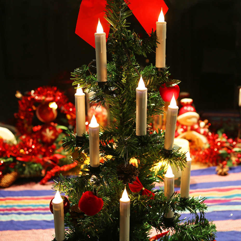 GiveU 10 ピースクリスマスツリーデコレーションライトバッテリーはクリスマスキャンドルランプタイマーと Remot 、 10 のパック
