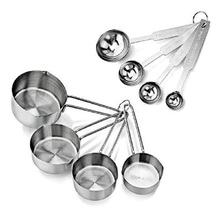 Set Of 8 Combo Set Stainless Steel Measuring Cup And Measuring Spoon Set Measuring Tool Kitchen Baking Tools цена 2017