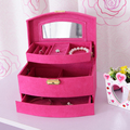 Free shipping pure color  ultra-luxury flannel jewelry box korean  style wedding birthday gift large storage cosmetic case