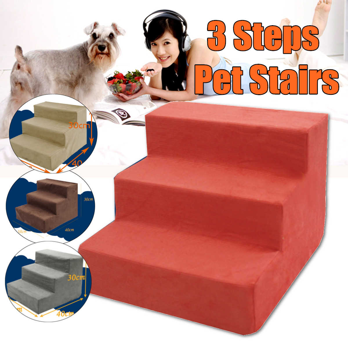 3 Steps Portable Pet Dog Cat Stairs Ramp Easy Way Ladder Cover Indoor Nonslip Sofa Bed Leather Cover Dog Accessories Universal
