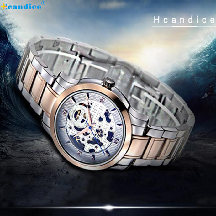 1PC Mens Fashion Skeleton Mechanical Stainless Steel Watch Gold HOT sale Nov17 2016 send in 2 days