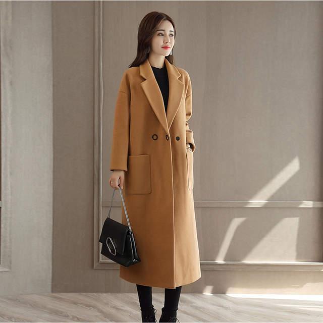 d641329b7 US $45.03 43% OFF|VogorSean Winter Women Wool Coat Jacket 2018 High Quality  Longer Korean Womens Woolen Coats Jackets Black/Khaki/Red-in Wool & Blends  ...