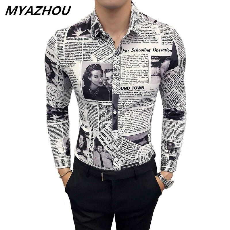Newspaper Print Shirt 2019 Fashion Designer 3D Pattern Shirt Large Size Slim Social Men's Long Sleeve Shirt M-5XL