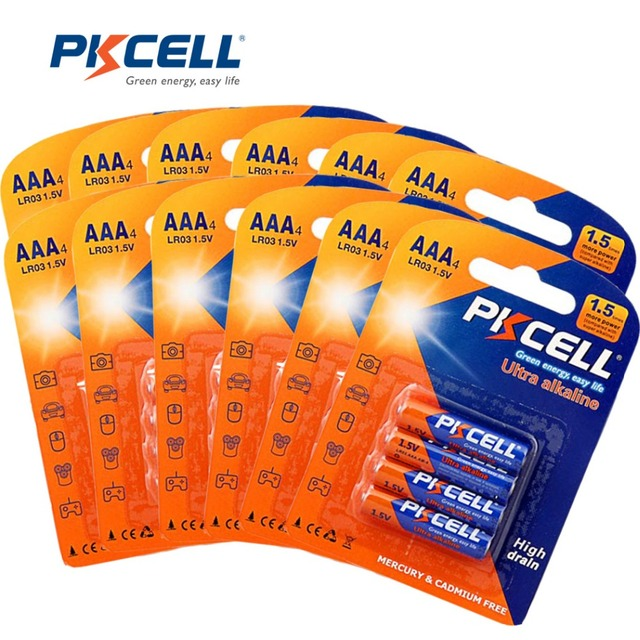PKCELL 1.5 V LR03 AAA Batterie Alcaline Uso Singolo E92 AM4 MX2400 3A Batteria = 48 Pcs/12 carta