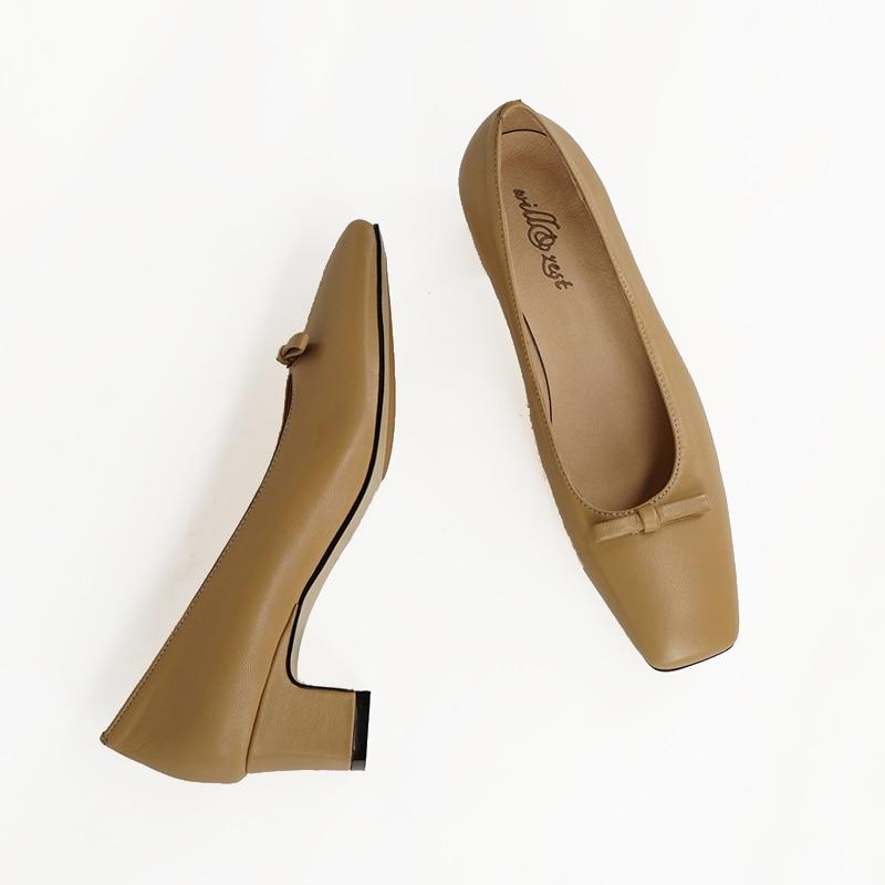 ФОТО  vintage  Square toe sheepskin  leather shoes kitten heels women's pumps 50mm