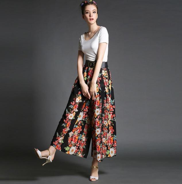 3481ea7bde6e3 Summer new fashion women wide leg trousers Pleated chiffon palazzo pants  Bohemian print high waist dance pants 2015 female