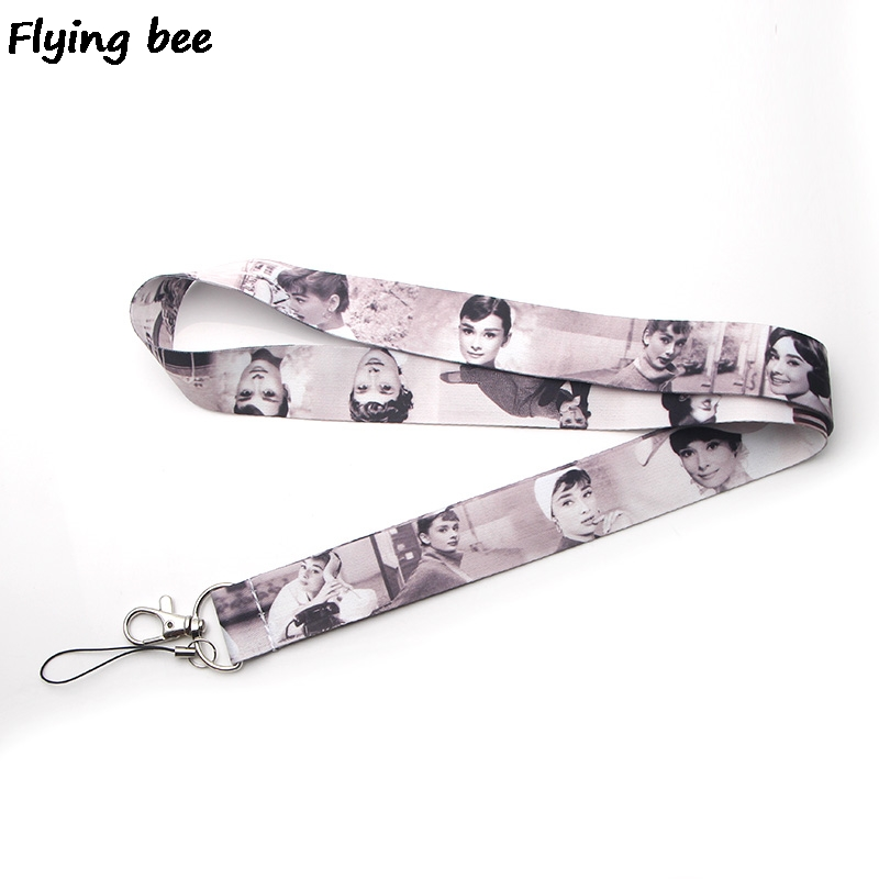 Flyingbee Audrey Hepburn Keychain Lanyard Badge Lanyards Mobile Phone Rope Keyring Key Lanyard Neck Strap Accessories X0256