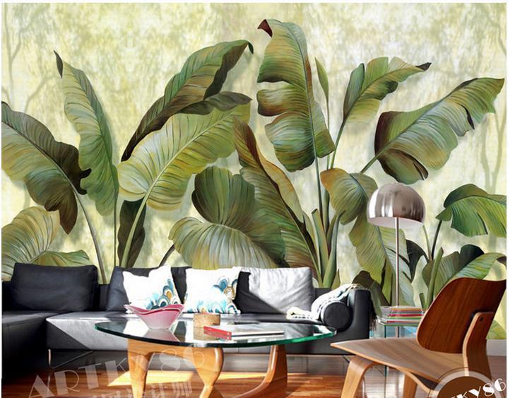 Custom Photo Wallpaper European Banana Leaf Retro Sofa Backdrop Mural 20178575 On Aliexpress Alibaba Group