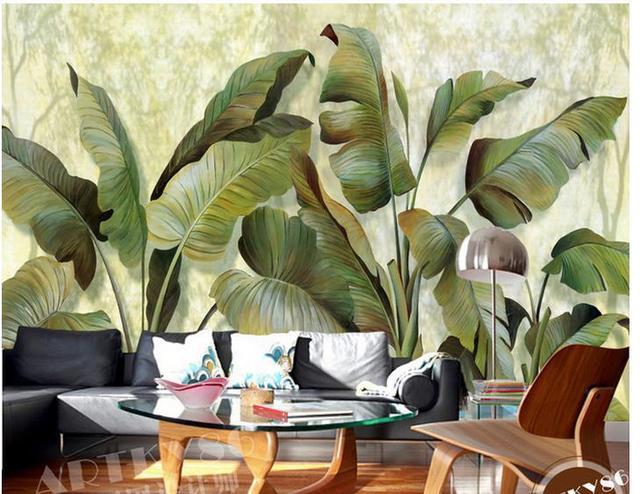 Custom Photo Wallpaper European Banana Leaf Retro Sofa Backdrop Mural