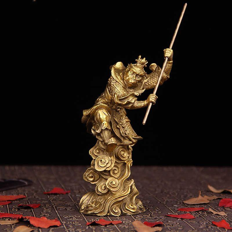 Sebuah pertempuran Raja monkey king Sun Wukong ornamen tembaga Feng Shui Buddha besar kecantikan
