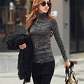 New Arrival Sweaters 2016 Slim Novelty Fashion High Neck Long Sleeve Pullovers Women Solid Black Blue Knitted Tops Plus SizeC161