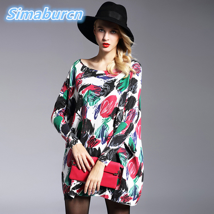 2018 Casual Women Sweaters Autumn Winter Woman Loose Sweater Long Sleeve Printed Knitted Wool Clothes Female Pullovers Sweater in Pullovers from Women 39 s Clothing