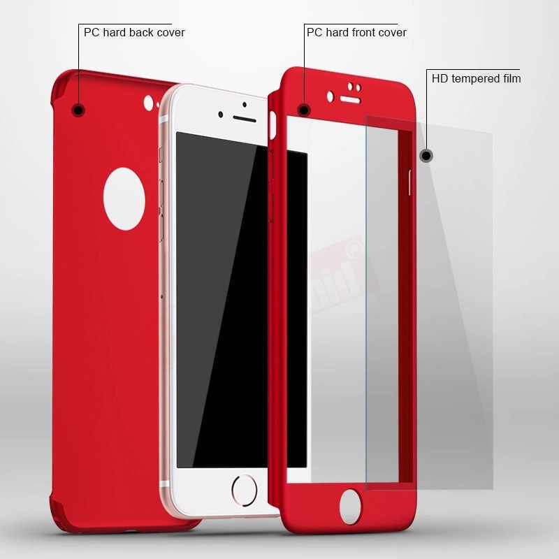 Модный Фиолетовый 360 чехол для iPhone X 8 6 6s 7 Plus 5 5S SE защитный чехол для ПК для iPhone XS MAX XR со стеклом