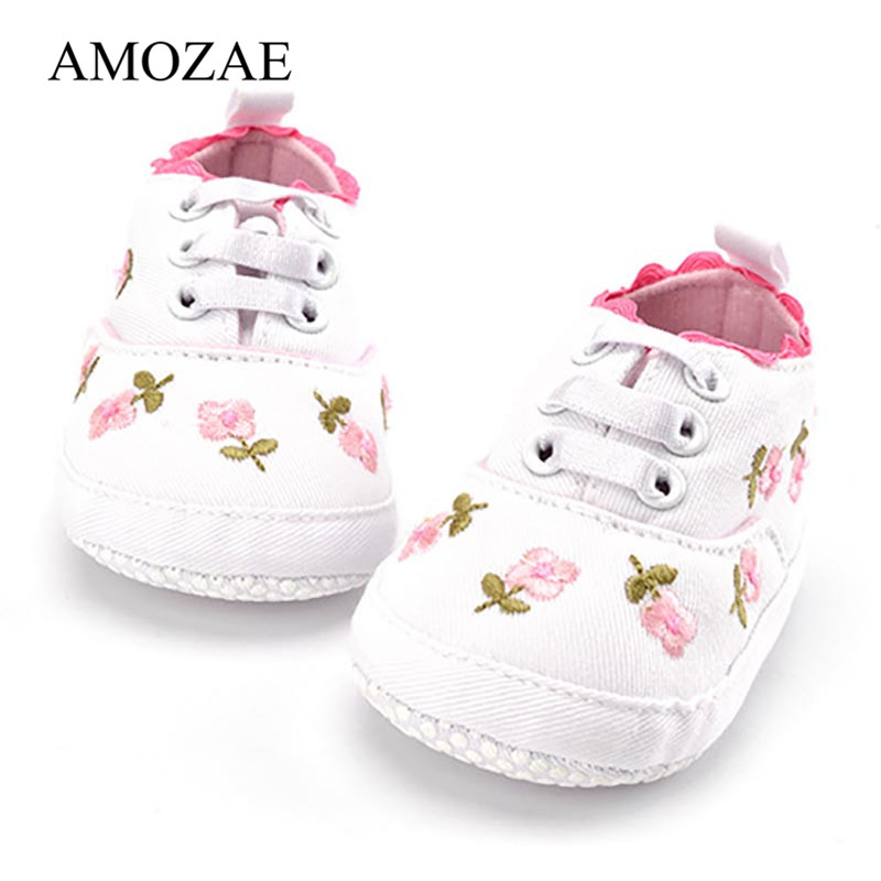 Baby Girls Shoes White Pink Floral Embroidered Soft Soles Shoes Prewalker Walking Toddler Casual Kids Shoes For Dropshipping