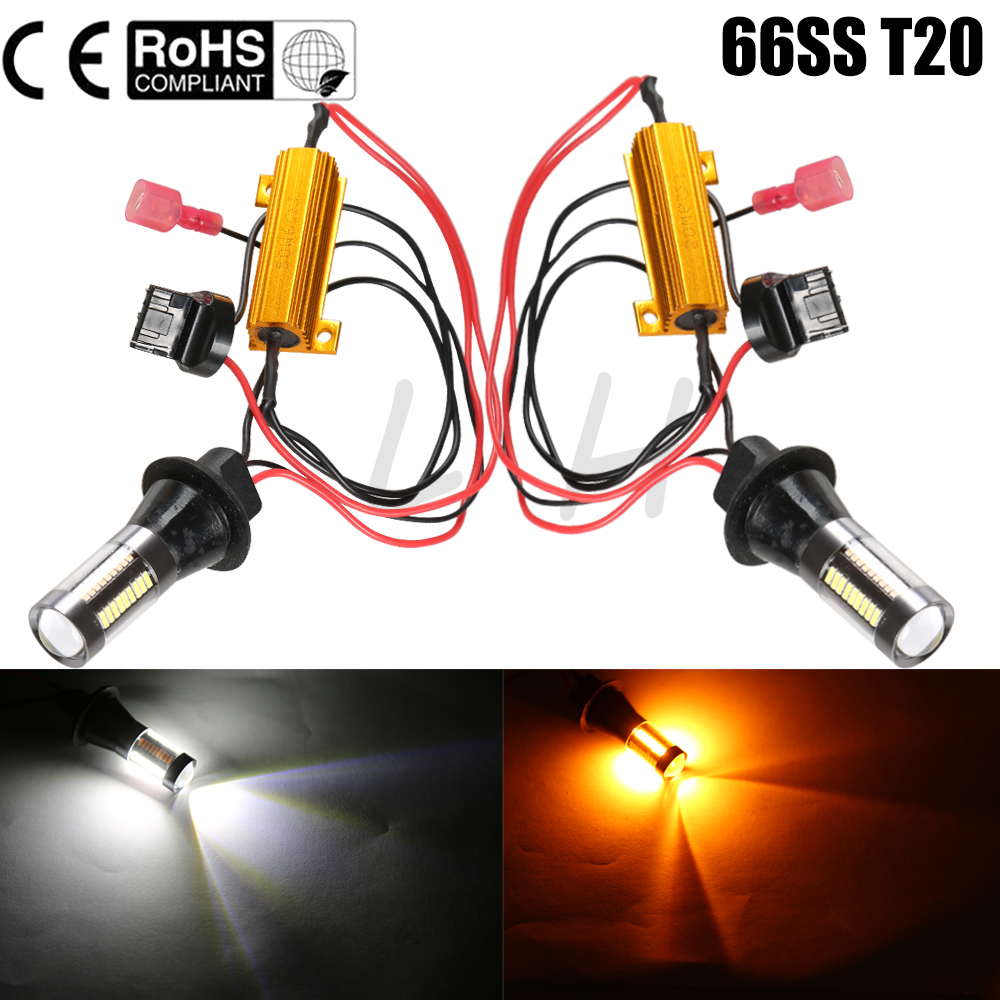 New 2x Dual Color Switchback Turn Signal T20 7440 66SMD 30W Car LED Light Lamp Bulb Daytime Running Light DRL Canbus