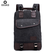 OZUKO Men's Backpack Vintage Multi-function Canvas Rucksack Laptop Travel Bags Schoolbag Back Pack for Teenage Women Backpacks