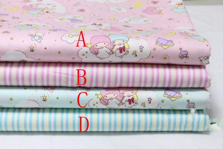 2759c0a3 1/2Merter 50cm*160CM Star Princess/Stripe 100%cotton Quilting meter fabric  Clothes Home Textile Bedding Sewing Doll Cloth