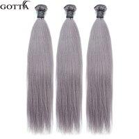 Серый цвет прямо 16 18 20 бразильский человеческих волос Ombre Пучки Волос Цвет волосы волной расширения