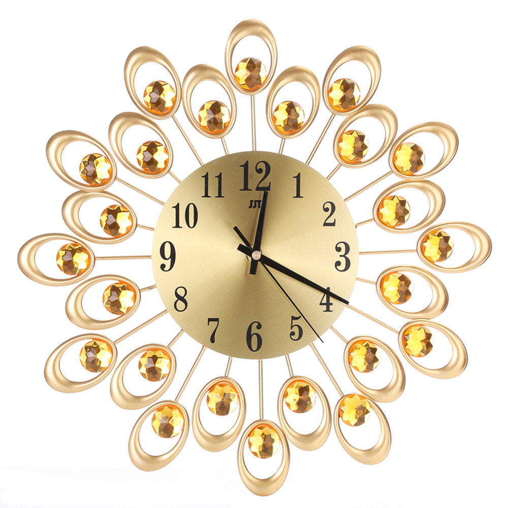 Vintage Metal Art Wall Clock Luxury Diamond Flower Large Wall Watch ...
