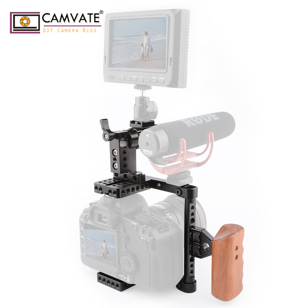 CAMVATE DSLR Camera Cage Top Handle Wood Grip for 600D 70D 80D C1373 right hand camera