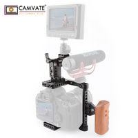 CAMVATE DSLR Camera Cage Top Handle Wood Grip for 600D 70D 80D C1373 camera photography accessories