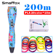 SMAFFOX 3D pen k3 200meter 1.75mm abs filament creative education gift for kids 3D printing pen with lcd display diy drawing pen