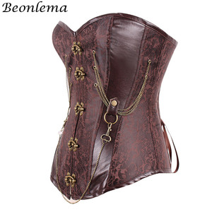 Image 2 - Beonlema Vintage Steel Boned Corset Bustier Metal Chain Korset For Women Sexy Waist Trainer Brown Steampunk Femme Bodice