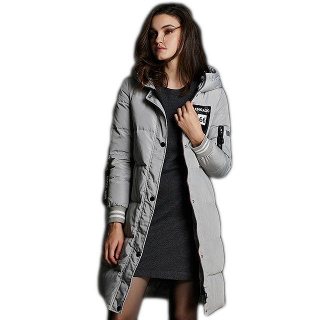 3 Colors High Quality Long Women's Winter Coats 2017 New Fashion Hooded Winter's Down Coat Covered Button Female Jackets Y1544